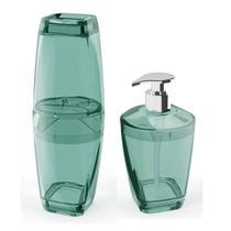 Kit Banheiro Porta Escova Porta Sabonete Liquido Verde 2 pçs - Uz