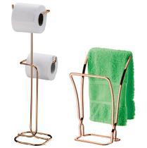 Kit banheiro rose gold Future Porta Papel Higiênico chao porta toalha de bancada  1608RG 1176RG -