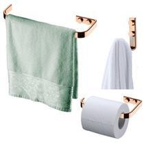 Kit Banheiro Rosé Gold Porta toalha 22cm + Gancho + Suporte Papel Higiênico - Future -