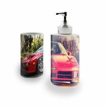 Kit Banheiro Saboneteira + Porta Escovas Porcelana Carro Acura 400ml (BD01) - Bd net collections
