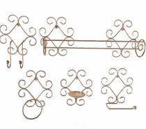 kit banheiro suporte ferro ouro rose gold rococó arabesco design decoração arte ferro rústico 5 peças porta toalha banho rosto cabideiro saboneteira - Minas Arte Própria