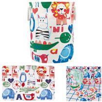 kit Banheiro Tapete Infantil + Cesto Organizador De Roupa Brinquedo Tecido Dobrável - Mor -