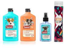 Kit Banho para cães filhotes: Shampoo Condicionador Perfume Sanol e Seca Xixi para Filhotes -