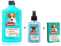 Kit Banho para Cães Filhotes: Shampoo + Sabonete em Barra + Colônia Filhotes Sanol Dog -