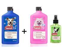 Kit Banho para cães: Shampoo Anti pulga para cachorro + Condicionador Revitalizante + Colonia Perfume Cães Macho Sanol Dog -