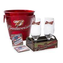 Kit bar budweiser balde + 2 taças + 2 porta copos + caixote - Camarim móveis