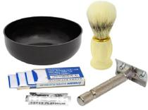 Kit Barba Barbear - 1 Pincel de Barba 1 Tigela 1 Barbeador Metal 5 Lâminas - Santa Clara -