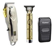 Kit Barbeiro Profissional Kemei 3 Em 1  Maquina de Cortar Cabelo -