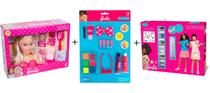 Kit barbie styling head core + cartela maquiagem + tatuagem de glitter barbie - Pupee