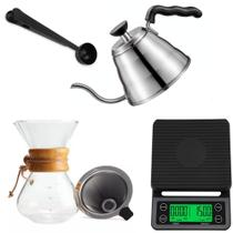Kit Barista Chaleira Passador Balança Profissional Para Café - MM