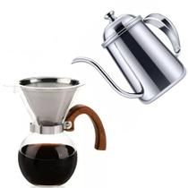 Kit Barista Profissional Bule Inox E Passador Para Café - MM