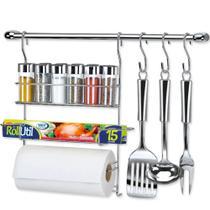 Kit Barra de Cozinha Cromado c/ 12 Peças Cook Home 17 Ref. 1417 Arthi -