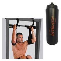 Kit Barra Porta Iron Gym Multifuncional Com 2 Tipóias Liveup + Squeeze Automático 1lt - Rythmoon