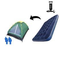 Kit Barraca De Camping 4 Lugares Com Colchão Inflável Casal Antares E Bomba Para Inflar -