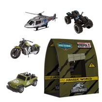 Kit Barraca Toca Tenda Infantil + 04 Veículos Jurassic World - Pupee Brinquedos