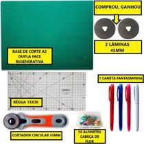 Kit Base A2 45x60cm + Régua 15x30cm + Cortador 45mm + Alfinete + Caneta Fantasminha - Lanmax