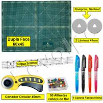 Kit Base De Corte 60x45 + Régua 5x60 + Cortador Patchwork Scrapbook - Levolpe
