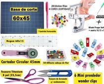 Kit Base De Corte 60x45 +régua 60 + Cortardor 45mm + Tesoura - Realiza Costura