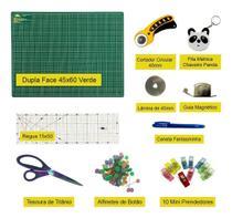 Kit Base De Corte 60x45 Verde Cortador Regua Tesoura Trena - Adb Acessorios Para Patchwork
