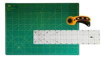 Kit Base De Corte A2 Verde 45x60 Cortador 45mm Regua 15x60 - Adb Acessorios Para Patchwork