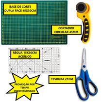 Kit Base De Corte A3 45x30cm + Régua 15x30cm + Cortador 45mm + Tesoura - Lanmax