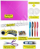 Kit Base De Corte Rosa 60x45 + Cortador 45mm + Tesouras - Levolpe