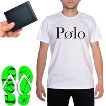 Kit Básico Camiseta Marca Polo Algodão + Chinelo Estampado Verde + Carteira Divisórias Porta Cartão - Efect