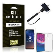 Kit Bastão de Selfie Moto One Action Bastão + Capinha Anti Impacto + Película de Vidro - Armyshield -