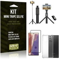 "Kit Bastão Selfie Tripé Bluetooth para Galaxy Note 20 6,7"" + Capa + Película 3D - Armyshield"
