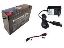 Kit Bateria 6v 10ah + Carregador + Chicote - Moto Elétrica - Energy Power