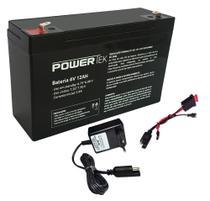 Kit Bateria 6V 12ah + Carregador + Chicote - Powertek