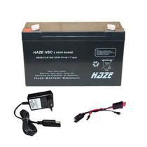 Kit Bateria 6v 12ah HAZE +Carregador +Chicote -Moto Elétrica - Hazze Power