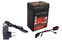 Kit Bateria 6v 4,5ah + Carregador - Chicote - Moto Elétrica - Unipower