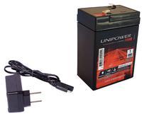 Kit Bateria 6v 4,5ah + Carregador - Moto Elétrica, Brinquedo - Unipower