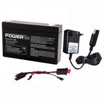 Kit Bateria 6v 7,2ah + Carregador + Chicote - Brinq Elétrico - Powertek
