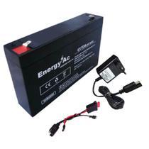 Kit Bateria 6V 8ah + Carregador 6V Led + Chicote Brinquedo - Energy Ac