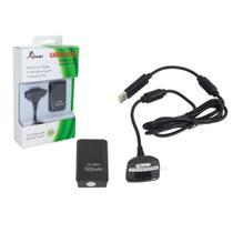 Kit Bateria Carregador Para Controle Xbox 360 Slim e Fat Com Cabo e Carregador 7600mah - Knup