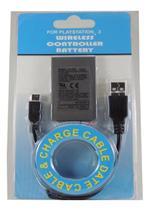 Kit Bateria Controle Ps3 + Cabo Usb 1800 Mah - T&Z