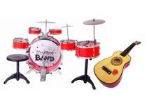 Kit Bateria infantil 6 Tambor E Mini Violão - Jazz Drumm