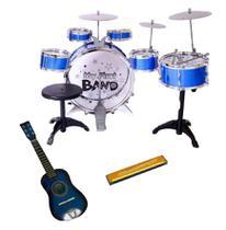 Kit Bateria infantil 6 Tambor + Mini Violão + Gaita - Jazz Drumm