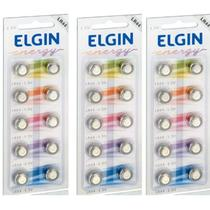 Kit Bateria, Lr44, Elgin, 3 Blister C/10 Un cada, Ref. 82194 -