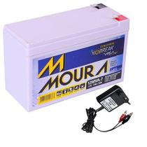 Kit Bateria Moura Gel Selada 12V 7ah + Carregador Led 12V -