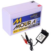 Kit Bateria Moura Gel Selada 12v 7ah + Carregador Led 12v -