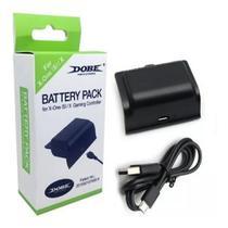 Kit Bateria Preto + Cabo Carregador Compatível c/ Controle Xbox One (S)/X - Dobe