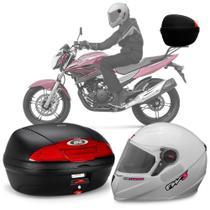 Kit Baú Givi Moto 45l + Capacete Branco Com Rosa -