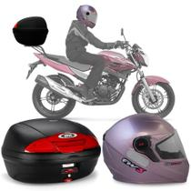 Kit Baú Givi Moto 45l + Capacete Rosa Com Rosa -