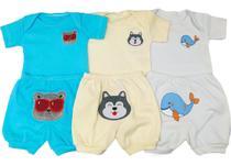 Kit Bebe 3 Conjuntos Body E Shorts Bordado Menino - Koala Baby