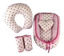 Kit Bebê 6pçs Ninho Redutor + Rolinho + Almofada Amamentação Coroa Rosa - Casa Pedro