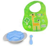 Kit Bebê Babador Impermeável + Prato Infantil Tampa e Colher - Dm Toys
