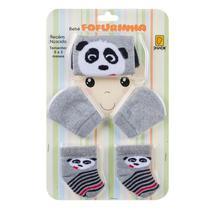 Kit Bebê Fofurinha Meia Touca E Luva Recém Nascido 4042054 Panda Cinza - Duck Meias - CONDE DUCK MEIAS